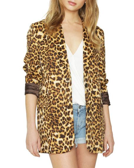 James Jeans Leopard-Print Two-Button Blazer