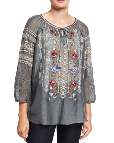 Johnny Was Angelique Cotton/Silk Embroidered 3/4-Sleeve Tassel Top