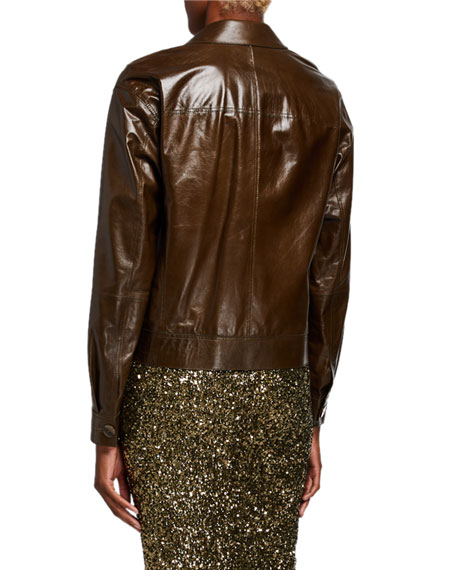 Lafayette 148 New York Peter Lacquered Lambskin Leather Button-Front Jacket
