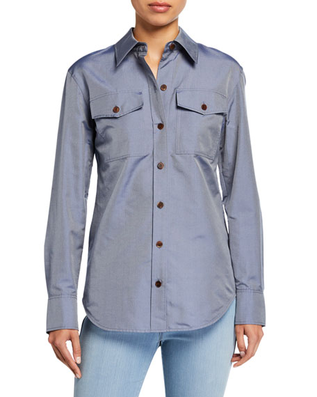Lafayette 148 New York Briar Genteel Shirting Button-Down Blouse