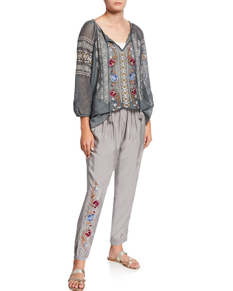Johnny Was Angelique Jogger Pants with Floral Embroidery