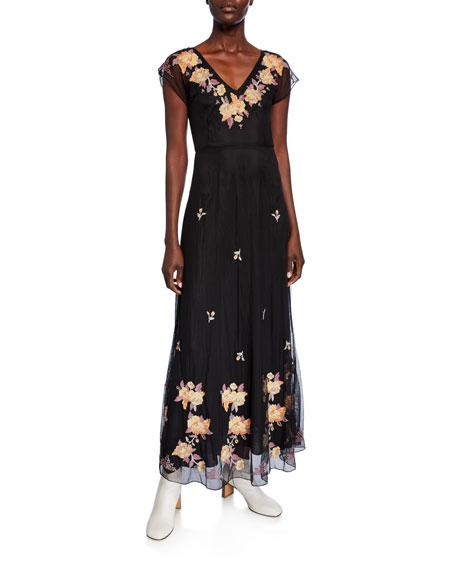 Johnny Was Sarah V-Neck Embroidered Mesh Maxi Dress