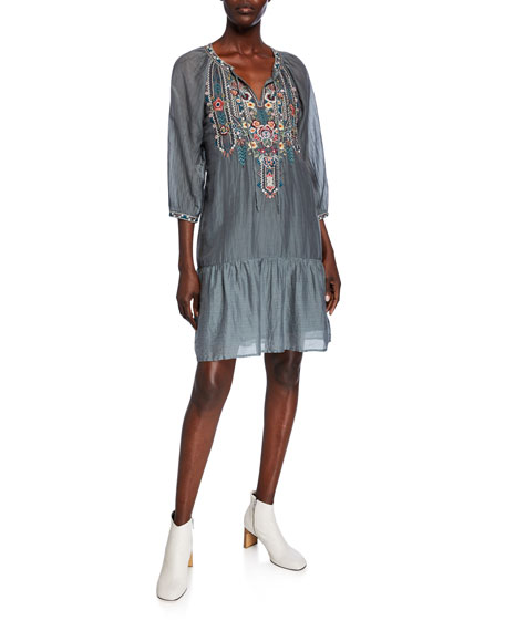Johnny Was Raquel Embroidered Split-Neck Boho Flounce Dress