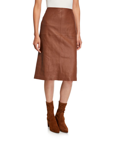Pascoe Full Grain Lambskin Leather Skirt