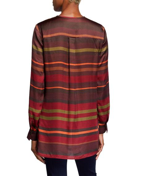 Lafayette 148 New York Prisha Autumn Stripe Sheen Cloth Long-Sleeve Blouse