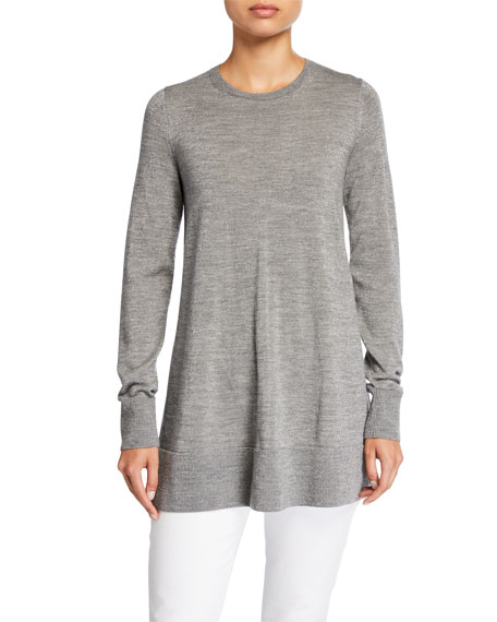 Lafayette 148 New York Metallic Fine-Gauge Merino Wool Crewneck Tunic Sweater