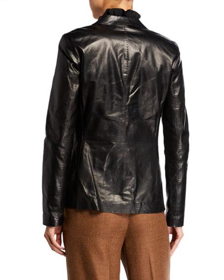 Lafayette 148 New York Two-Button Glazed Weightless Lambskin Jacket