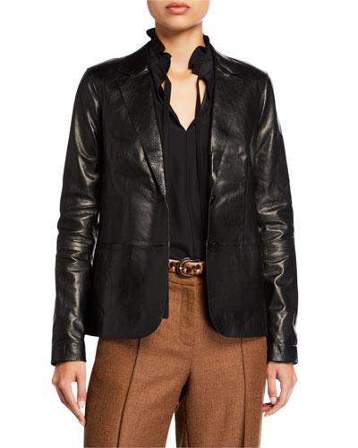 Two-Button Glazed Weightless Lambskin Jacket