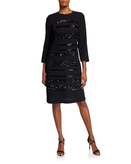 Lafayette 148 New York Giovanetta Embellished Nouveau Crepe 3/4-Sleeve Sheath Dress