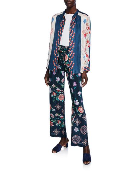 Johnny Was Vega Floral-Print Side-Slit Drawstring Pants