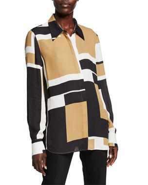 f87e8f233bd614 Lafayette 148 New York Julianne Graphic Block Button-Down Drape Cloth Blouse