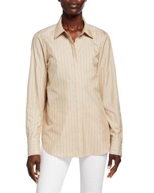 b478a6f3f833c2 Lafayette 148 New York Scottie Genteel Stripes Button-Down Cotton/Silk  Blouse