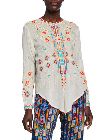 Johnny Was Donya Embroidered Tie-Front Long-Sleeve Top