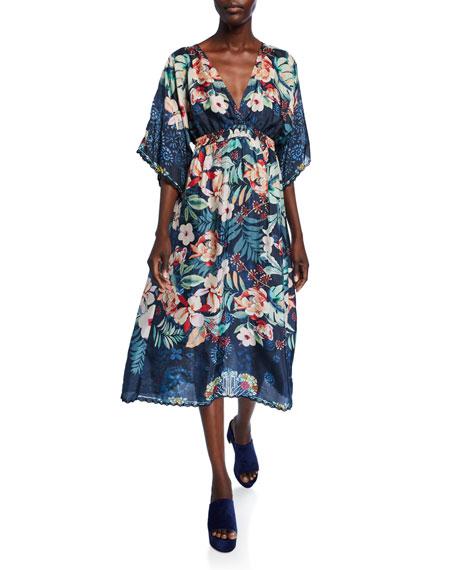 Johnny Was Annia Floral V-Neck Full-Sleeve Midi Dress