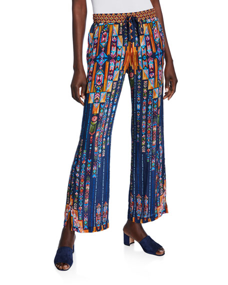 Johnny Was Vega Printed Side-Slit Drawstring Pants