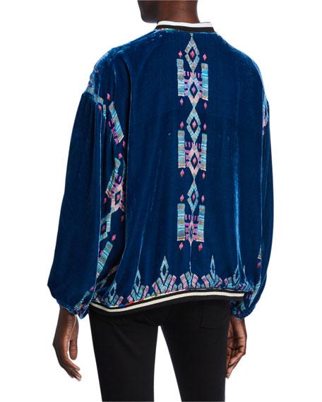 Johnny Was Zelba Reversible Silk Velvet Bomber Jacket