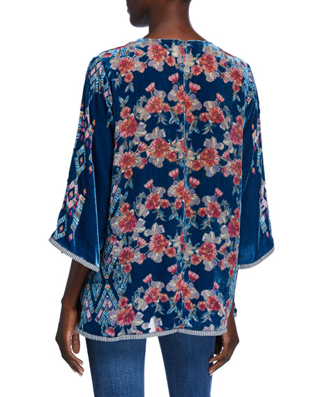 Johnny Was V-Neck 3/4-Sleeve Burnout-Print Silk Velvet Top