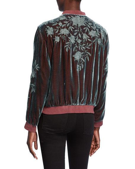 Johnny Was Christina Embroidered Velvet Bomber Jacket