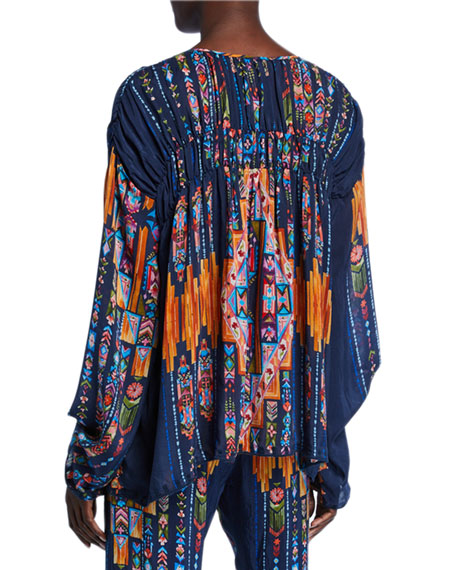 Johnny Was Harley Printed Long-Sleeve Tassel-Tie Top