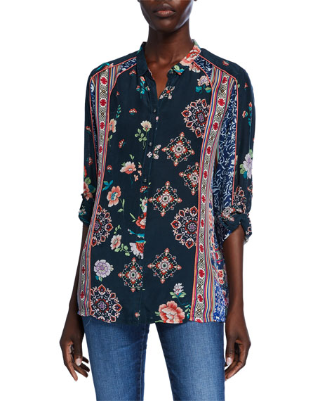 Johnny Was Plus Size Georgina Mixed-Print Long-Sleeve Button-Front Blouse