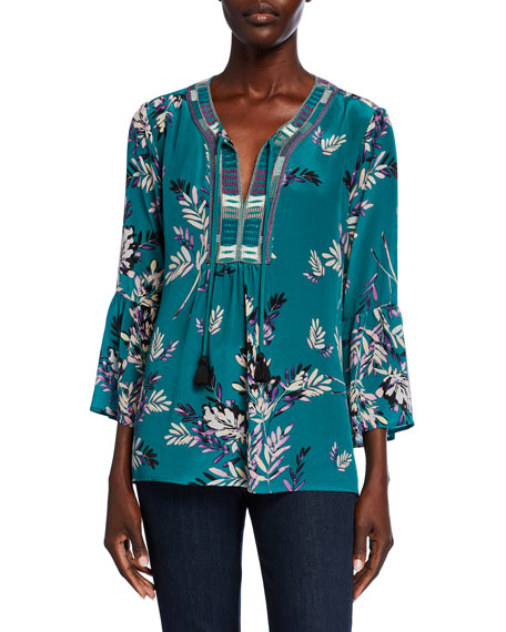 Johnny Was Printed Flare-Sleeve Velvet Blouse w/ Embroidered Trim