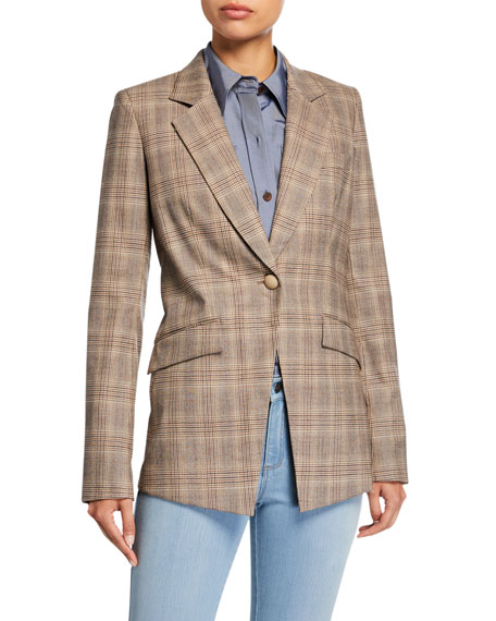 Image 2 of 3: Lafayette 148 New York Virginia Primary Plaid One-Button Blazer