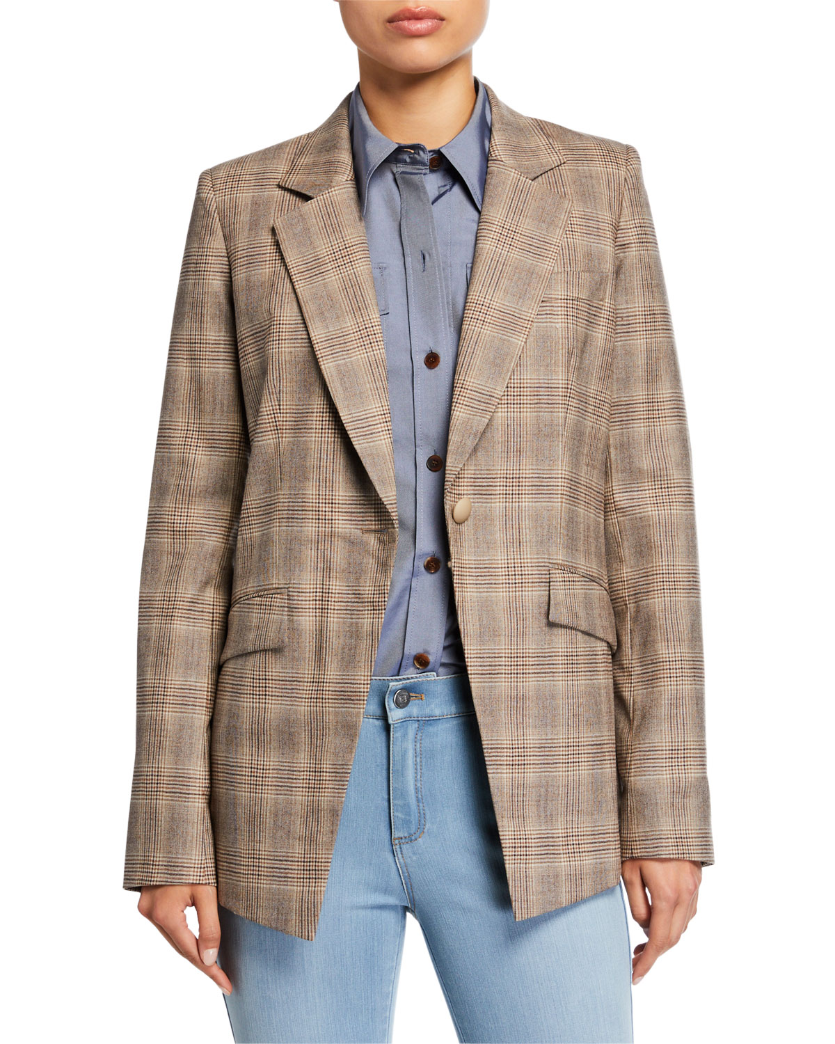 Lafayette 148 New York Virginia Primary Plaid One-Button Blazer