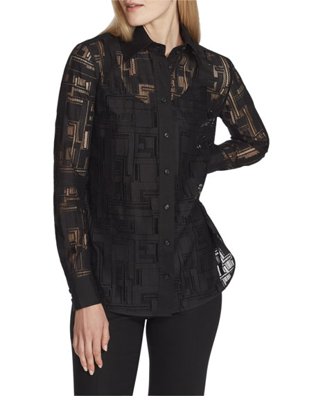 Lafayette 148 New York James Italian Linear Lace Button-Down Blouse