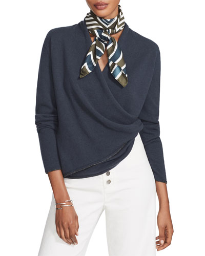 Cashmere Wrap Front Sweater with Metallic