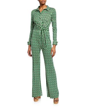 88f79d1acdea Diane von Furstenberg Michele Printed Tie-Waist Jumpsuit