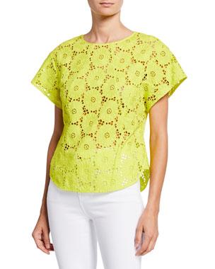 4c2bb52d1e54a Diane von Furstenberg Nellie Floral Lace Short-Sleeve Cropped Top