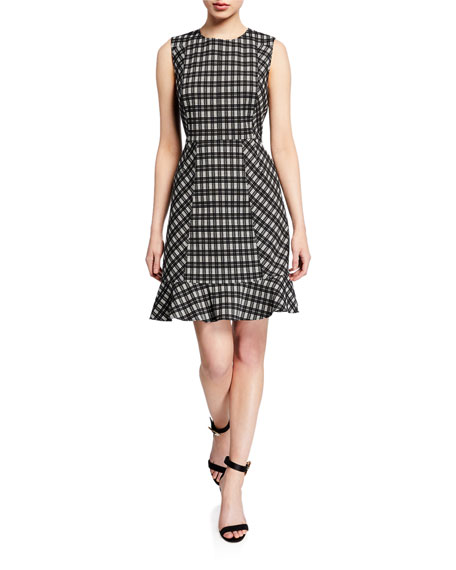 Diane von Furstenberg Reiley Plaid Sleeveless Ruffle-Hem Dress