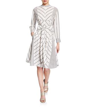 3bc028f0ff Diane von Furstenberg Jaylah Striped Tie-Front Shirtdress