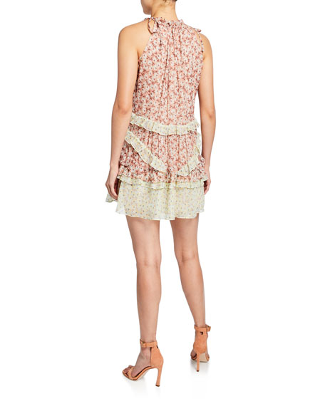 Rebecca Taylor Lucia Sleeveless Tiered Tie-Neck Dress