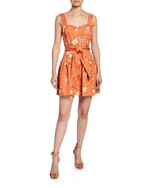 04632abcb Rebecca Taylor Lita Sleeveless Floral-Print Linen Dress
