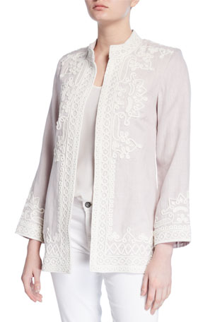 Bella Tu Ceci Embroidered Open-Front Linen Jacket