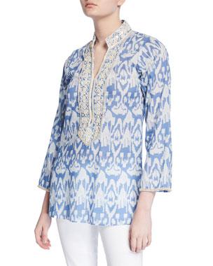 df8e88afeef Bella Tu Ikat 29 Embellished V-Neck Tunic with Mandarin Collar