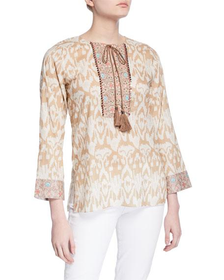 Bella Tu Ikat Tie-Neck Embellished Front Tunic