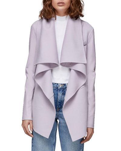 Vane Wool Coat w/ Leather Sleeves