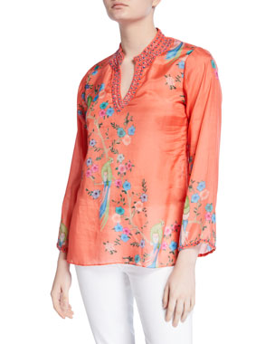 bfa26000afb Bella Tu Avery Printed Long-Sleeve Embellished V-Neck Tunic