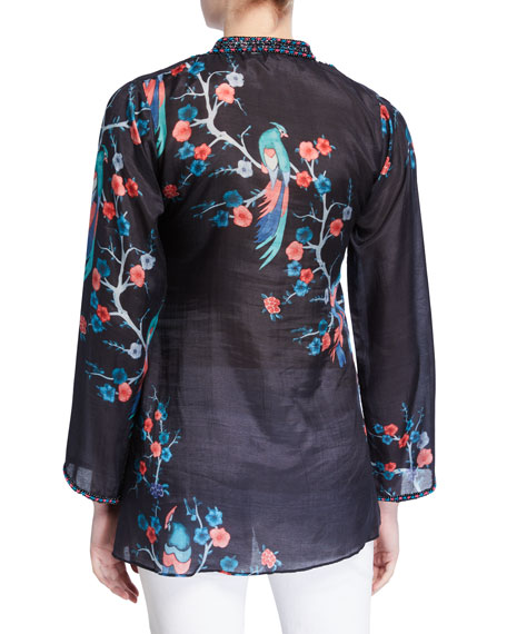 Bella Tu Avery Beaded Neck Long-Sleeve Tunic with Mandarin Collar