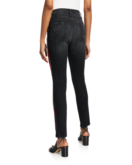 "Hudson Barbara 12"" Rise Straight Jeans with Side Seam Details"