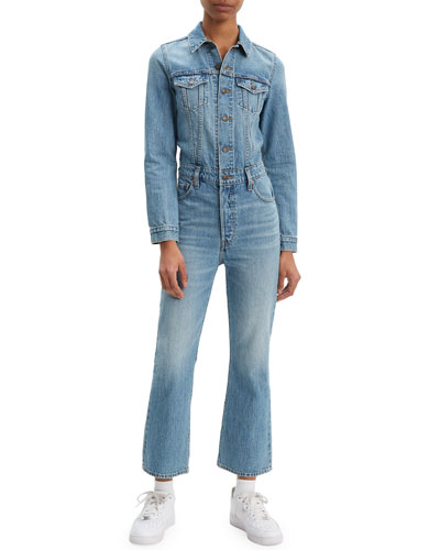Kick Flare Long-Sleeve Denim Jumpsuit