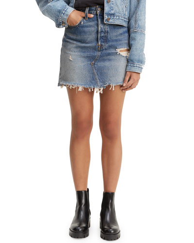High-Rise Deconstructed Denim Skirt