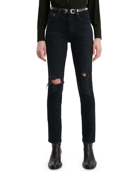 Levi's Premium 501 High-Rise Distressed Skinny Jeans