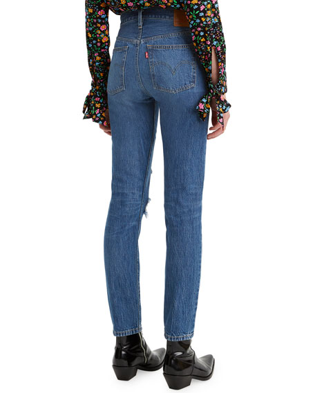 Levi's Premium 501 Distressed Skinny Jeans