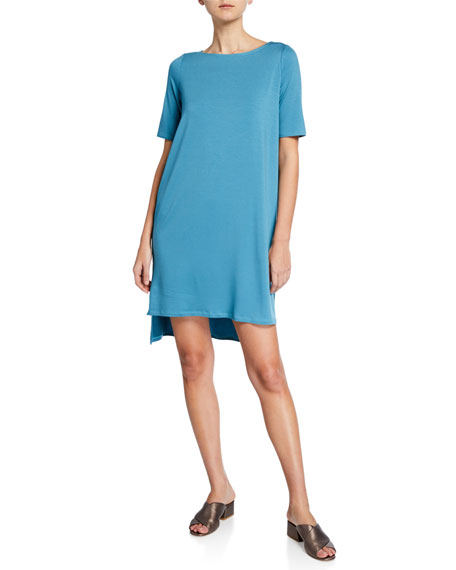 Eileen Fisher Elbow-Sleeve High-Low Jersey Dress
