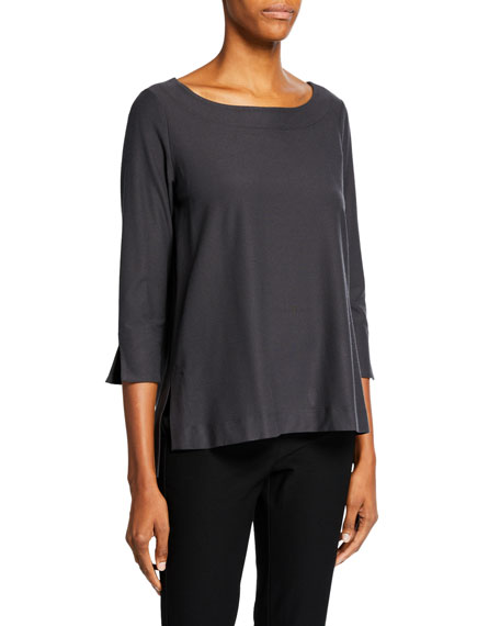 Eileen Fisher Petite Boat-Neck 3/4-Sleeve Washable Crepe Tunic
