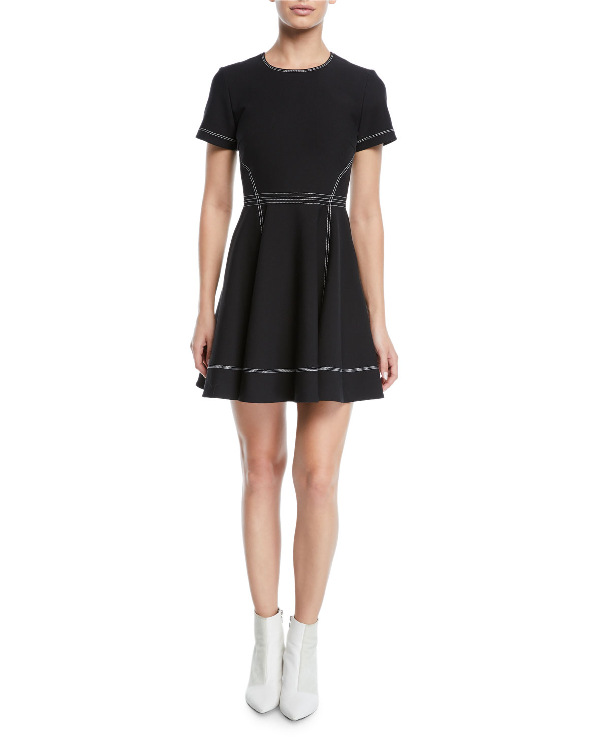 8ca588eb19faa cinq a sept Bryce Short-Sleeve Fit-and-Flare Mini Dress | Neiman Marcus