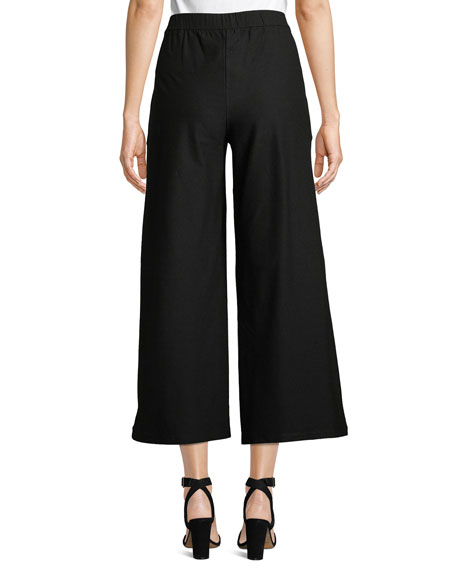 Eileen Fisher Petite High-Waist Wide-Leg Cropped Stretch Crepe Pants
